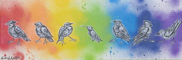 Meadowlark Painting - Rainbow Birds by Erin Ashlee Smith