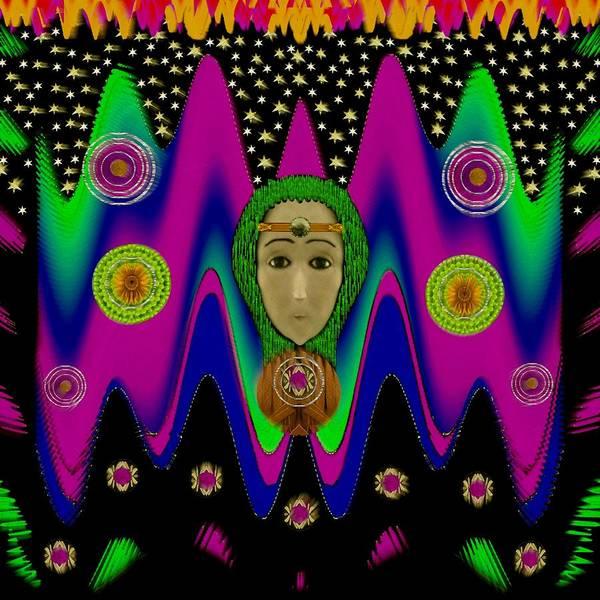 Wall Art - Mixed Media - Rainbow Bohemian Peace Girl by Pepita Selles