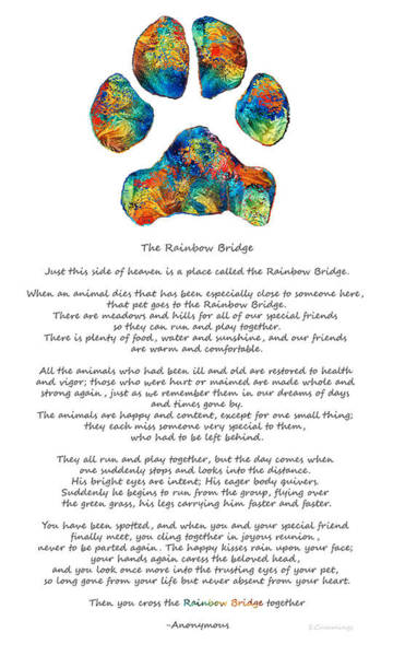 Sharon Painting - Rainbow Bridge Poem With Colorful Paw Print By Sharon Cummings by Sharon Cummings