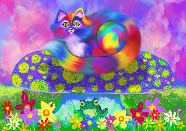 Wall Art - Digital Art - Rainbow Calico On A Mushroom by Nick Gustafson