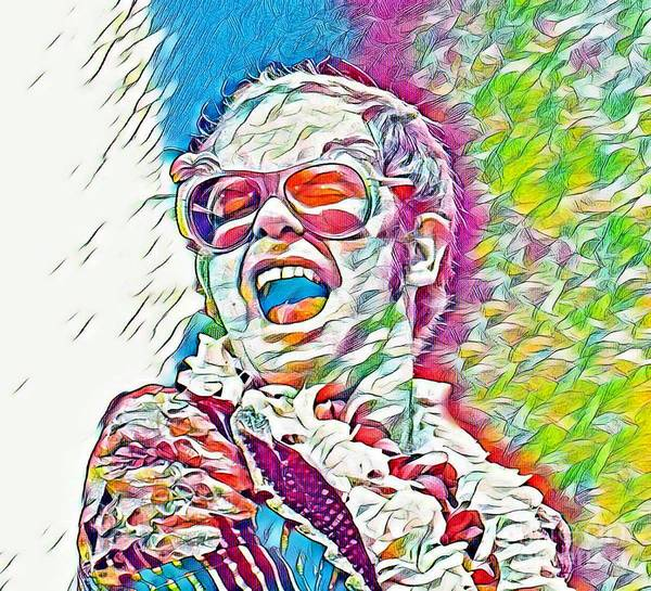 Lgbtq Digital Art - Rainbow Colors Elton John by Pd