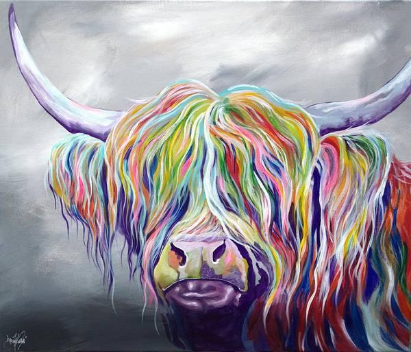 Scotland Wall Art - Painting - Rainbow Coo by Aaron De la Haye