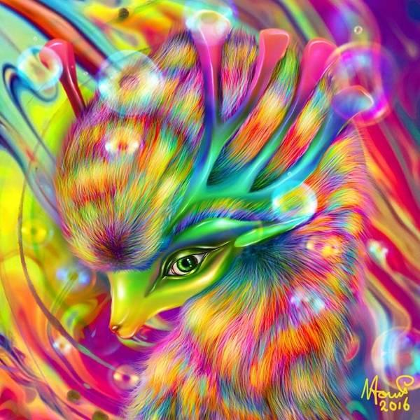 Bambi Mixed Media - Rainbow Deer by Naomi Jansen