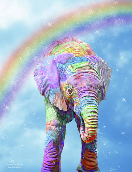 Mixed Media - Rainbow Elephant by Carol Cavalaris
