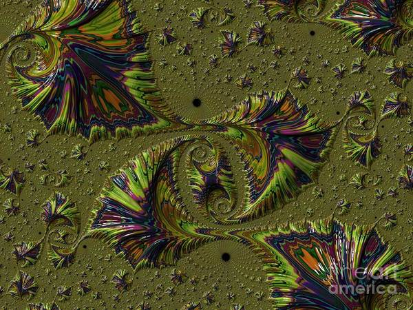 Digital Art - Rainbow Fern Frond Fossils Fractal Abstract by Rose Santuci-Sofranko