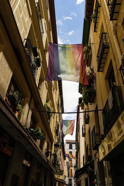 Gay Pride Flag Photograph - Rainbow Flags Decorating Madrid For Worldpride 2017 Celebrations by Georgia Mizuleva