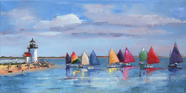 Painting - Rainbow Fleet Parade At Brant Point by Trina Teele