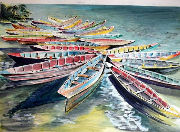 Painting - Rainbow Flotilla by Richard Jules