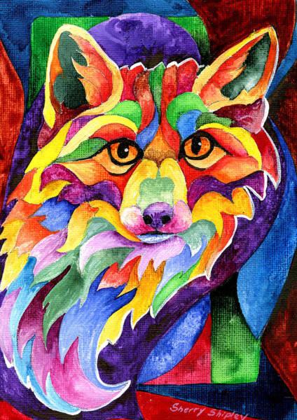 Painting - Rainbow Fox by Sherry Shipley