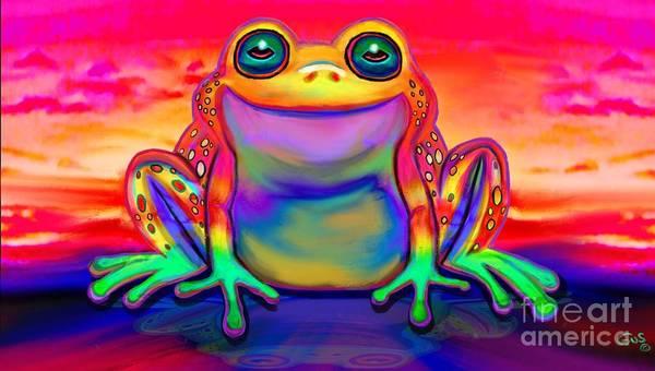 Wall Art - Drawing - Rainbow Frog Reflections  by Nick Gustafson