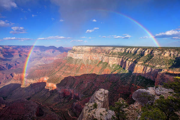 South Rim Photograph - Rainbow From Trailview Overlook by Mike Buchheit