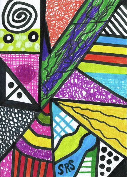 Drawing - Rainbow Geometric by Susan Schanerman