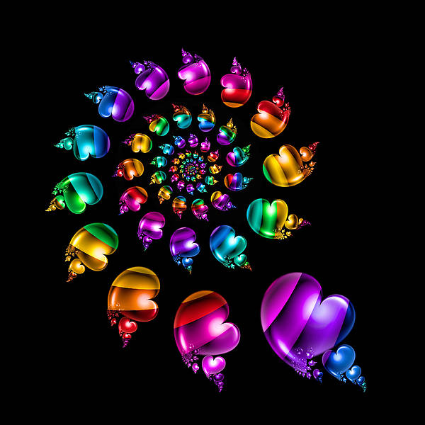 Wall Art - Digital Art - Rainbow Heart Wheel On Black by Pam Blackstone