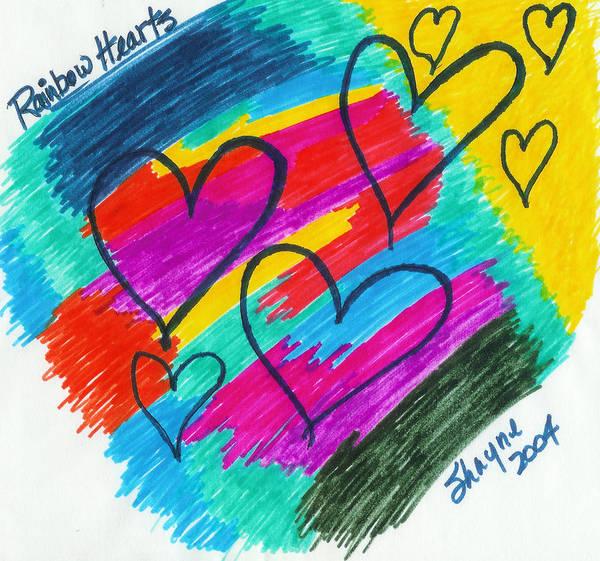 Drawing - Rainbow Hearts by Susan Schanerman