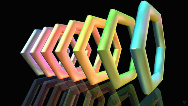 Digital Art - Rainbow Hexagons by Derek Gedney