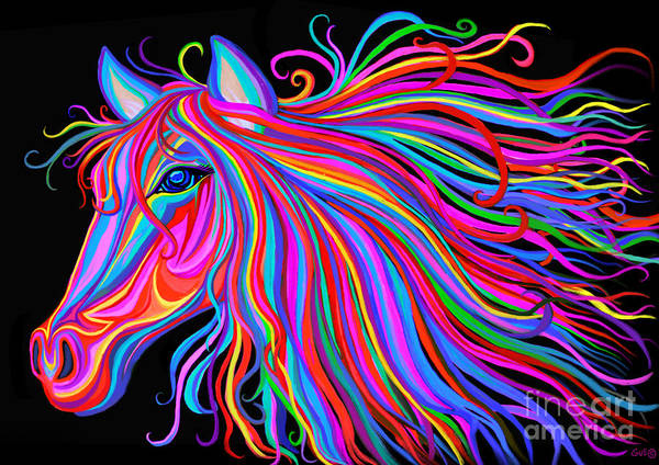 Wall Art - Painting - Rainbow Horse  by Nick Gustafson