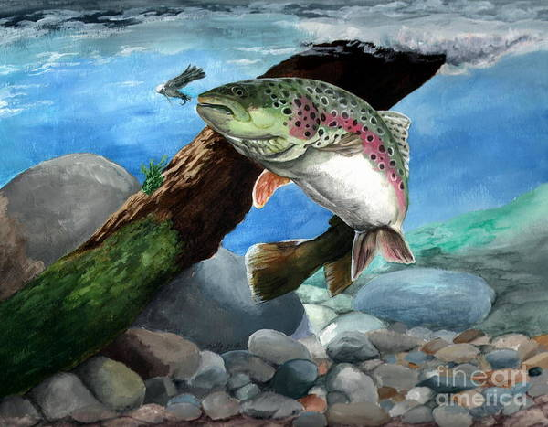 Trout Painting - Rainbow by Kathleen Kelly Thompson