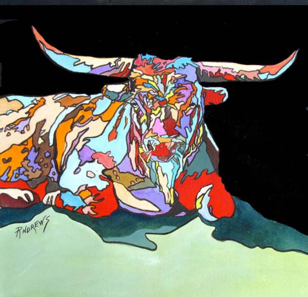 Longhorn Painting - Rainbow Longhorn by Rae Andrews