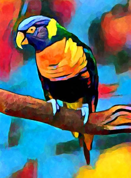 Happy Little Trees Painting - Rainbow Lorikeet 6 by Chris Butler
