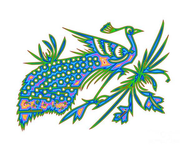 Pheasant Digital Art - Rainbow Multicolored Peacock On A Branch by Rose Santuci-Sofranko