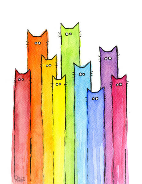 Wall Art - Painting - Rainbow Of Cats by Olga Shvartsur