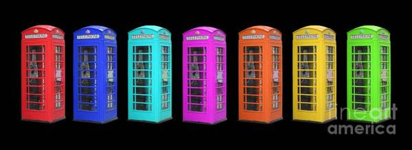 Diversity Wall Art - Photograph - Rainbow Of London Phone Booths Tee by Edward Fielding