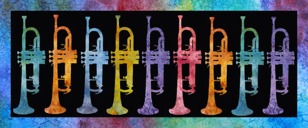 Wall Art - Painting - Rainbow Of Trumpets by Jenny Armitage