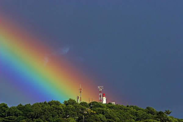 St. Lucia Photograph - Rainbow On Lighthouse- St Lucia by Chester Williams