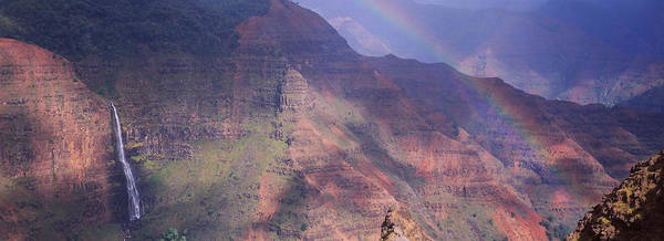 Waimea Canyon Photograph - Rainbow Over A Canyon, Waimea Canyon by Panoramic Images