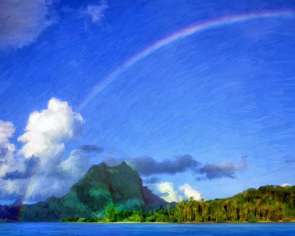 Fatu Hiva Wall Art - Painting - Rainbow Over Bora Bora by Dominic Piperata