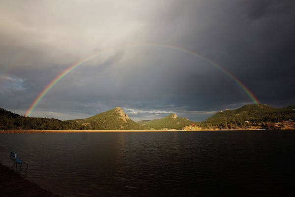 Photograph - Rainbow Over Estes Park by Sue Collura