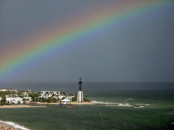 Photograph - Rainbow Over Hillsboro Lighthouse by Corinne Carroll