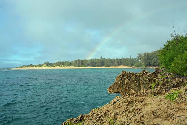 Mahaulepu Beach Photograph - Rainbow Over Mahaulepu Beach by Bruce Gourley