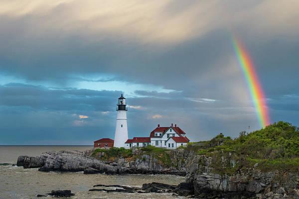 Photograph - Rainbow Over Portland Head Light by Jesse MacDonald