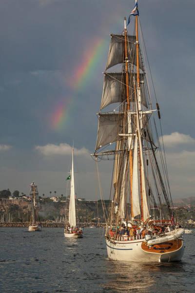 Photograph - Rainbow Over Tall Ships by Cliff Wassmann
