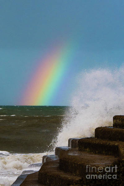 Rainbow Over The Crashing Waves Art Print