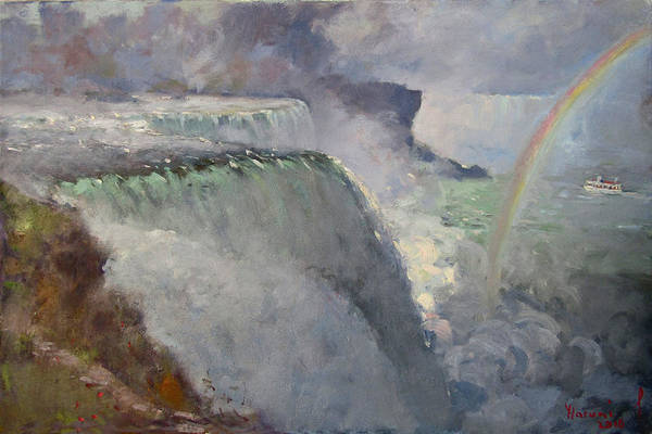 Niagara Falls Wall Art - Painting - Rainbow Over The Falls by Ylli Haruni