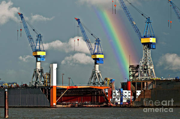 Photograph - Rainbow Over The Port Of Hamburg by Silva Wischeropp
