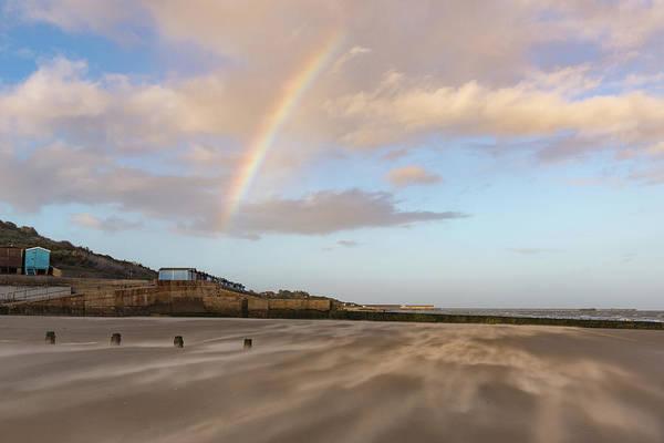 Photograph - Rainbow Over Wind Driven Sand On Frinton Beach by Gary Eason