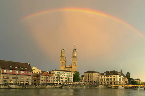 Zuerich Wall Art - Photograph - Rainbow Over Zuerich by Christian Heeb