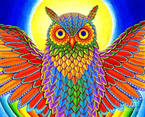 Colored Pencil Drawing Drawing - Rainbow Owl by Rebecca Wang