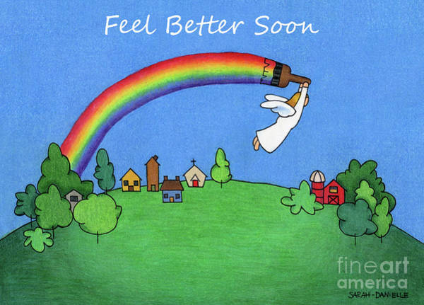 Wall Art - Drawing - Rainbow Painter- Feel Better Soon Cards by Sarah Batalka