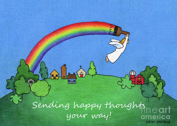Wall Art - Drawing - Rainbow Painter- Sending Happy Thoughts Your Way by Sarah Batalka