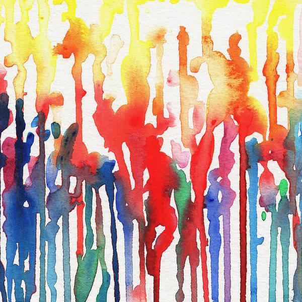 Painting - Rainbow Rain Abstract Watercolor  by Irina Sztukowski