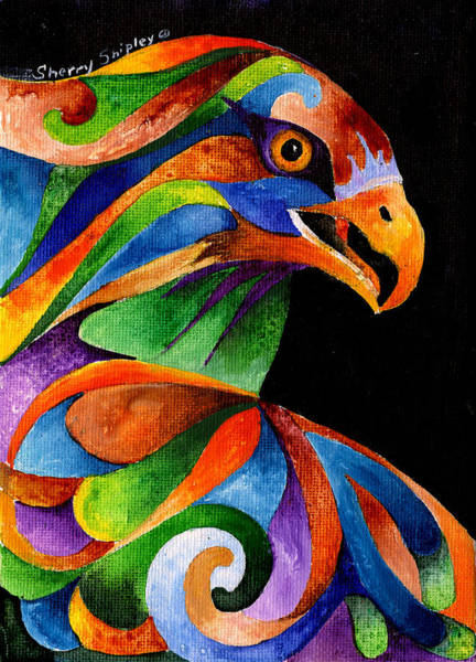 Painting - Rainbow Raptor by Sherry Shipley