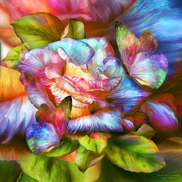 Mixed Media - Rainbow Rose And Butterflies by Carol Cavalaris