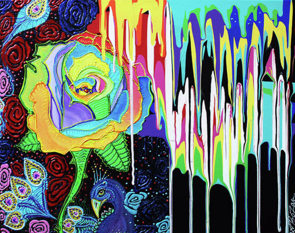 Wall Art - Painting - Rainbow Rose by Laura Barbosa