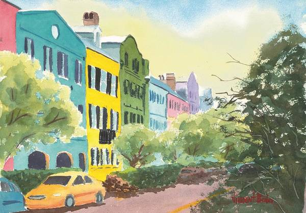 Southern Charm Painting - Rainbow Row by Vincent Bobo