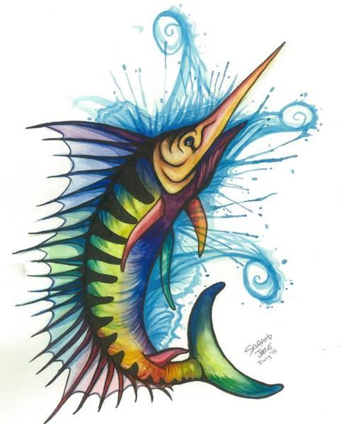 Little Mermaid Wall Art - Painting - Rainbow Sailfish by Sarah Jane