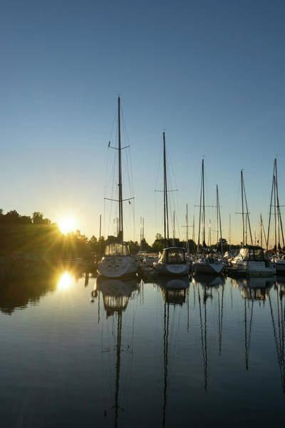 Photograph - Rainbow Sunrays - Summer Sunrise With Yachts by Georgia Mizuleva